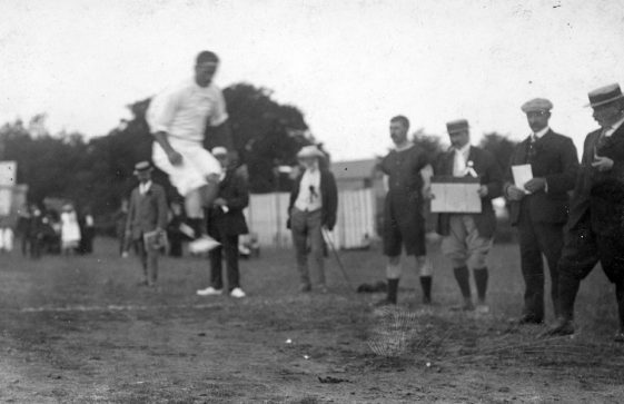 Men's Long Jump at St Margaret's Sports Day. c1910