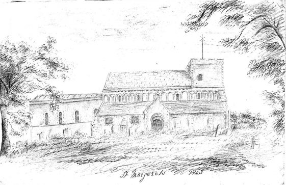 Drawing of St Margaret's Church from the north. 1843