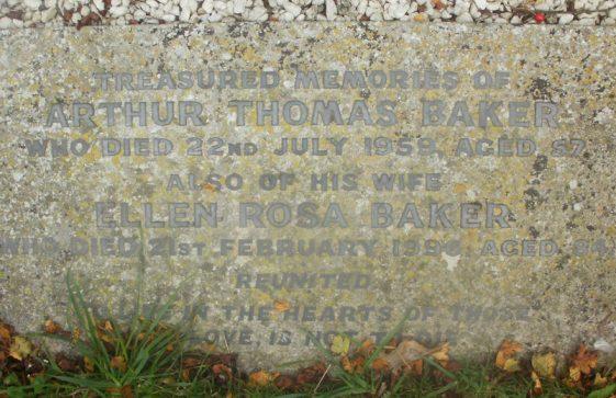 Gravestone of BAKER Arthur Thomas 1959; BAKER Ellen Rosa 1996