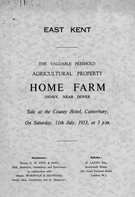 Sale catalogue and plan of the Home Farm at Oxney 11 July 1953