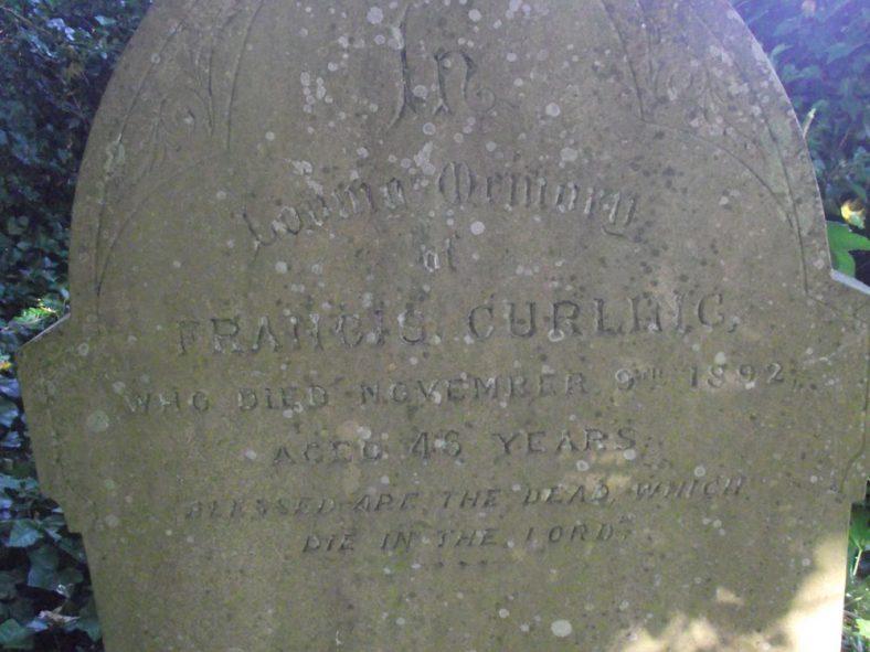 Gravestone of CURLING Francis 1892 | Dawn Sedgwick