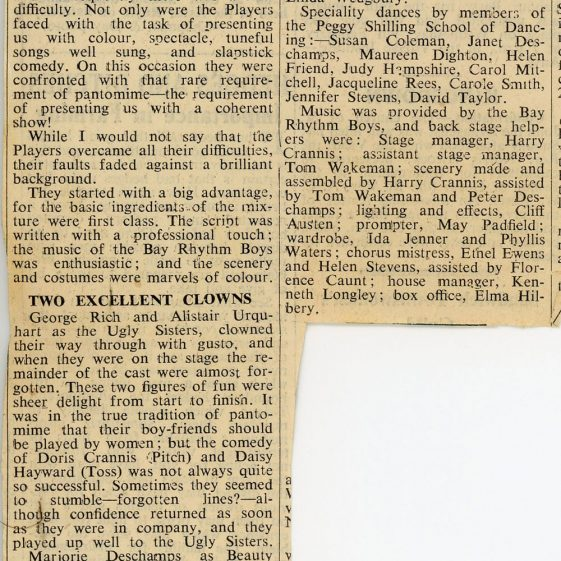 Press cuttings from the Dover Express of  St. Margaret's Players Pantomime 'Beauty and the Beast'. 1955