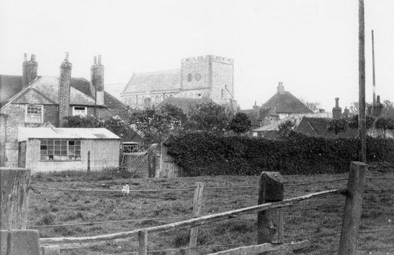 St Margaret's Church from the rear of the Red Lion Public House. 1923