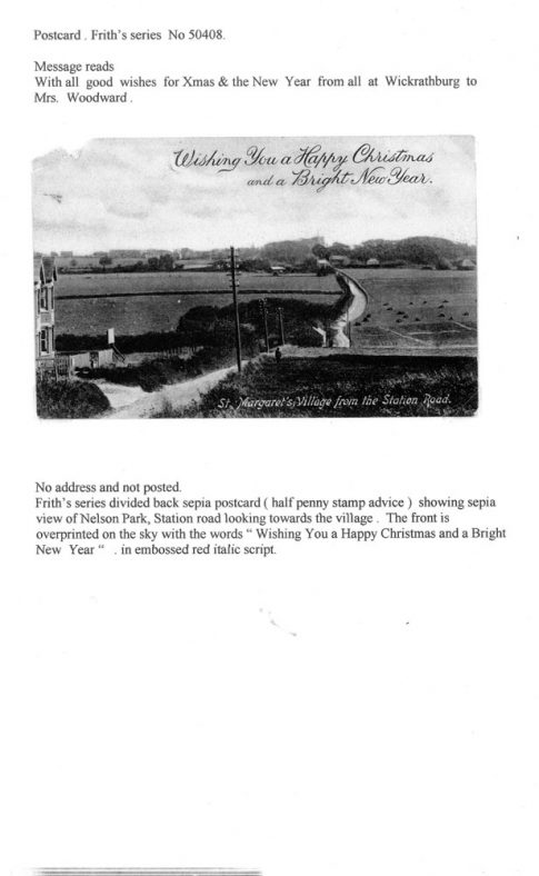 Christmas postcard showing Station Road. Frith 50408 dated 1903