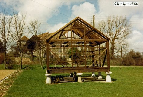 The staddle stone hut at Wallett's Court during restoration. 1986