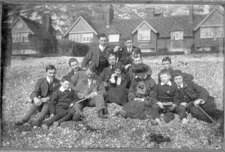 Daisy Watts and friends on the beach. 1907