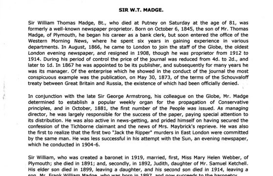 Obituary of Sir William Thomas Madge. 31 January 1927.