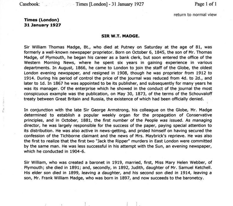 Obituary of Sir William Thomas Madge. 31 January 1927.
