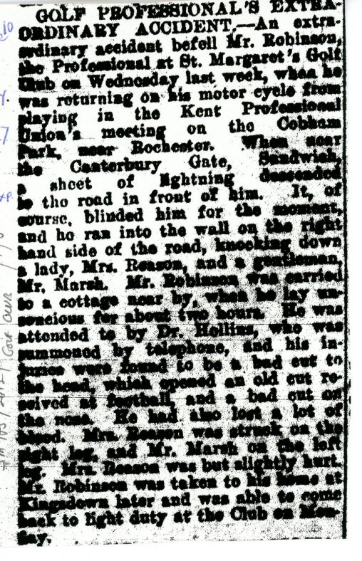 St Margaret's Golf Club Professional's extraordinary motor cycle accident. 13 May 1927