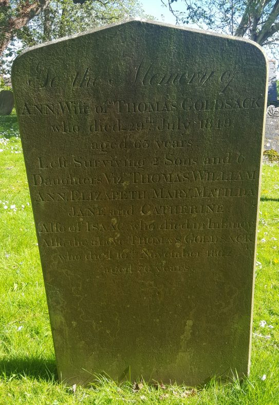 Gravestone of GOLDSACK Ann 1849; GOLDSACK Isaac; GOLDSACK Thomas 1862 | Dawn Sedgwick