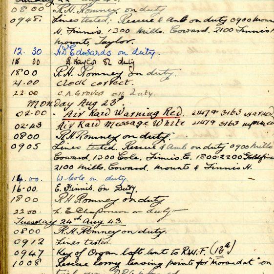 St Margaret's ARP (Air Raid Precautions) Log Volume 7. 15 February 1943 - 25 October 1943. Pages 105-116