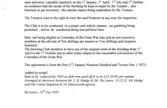Agreement between the Working Men's Club and the Comrades of The Great War. 1 January 1921