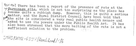Report of rats at the Old Parsonage site, Reach Road. 1967