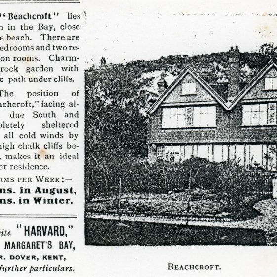 Advertisement for holiday lets in St Margaret's Bay. pre 1970