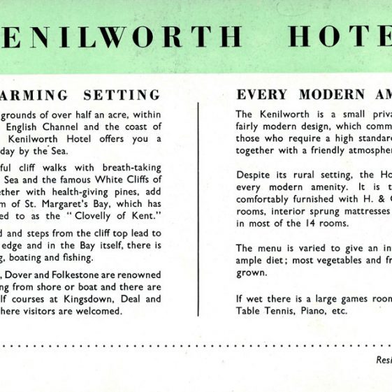 Brochure for Kenilworth Hotel, The Droveway. mid 20th century