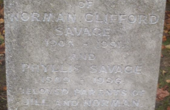 Gravestone of SAVAGE Norman Clifford 1991; SAVAGE Phyllis 1996