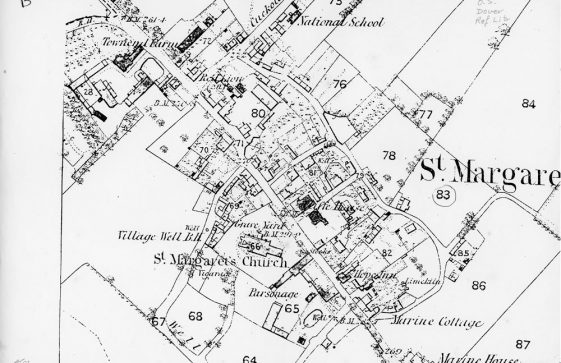 OS Map of St Margaret's at Cliffe. 1862 - 1872