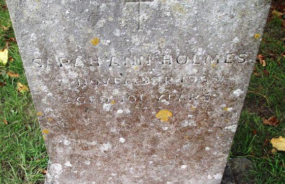 Gravestone of HOLMES Sarah Ann 1965