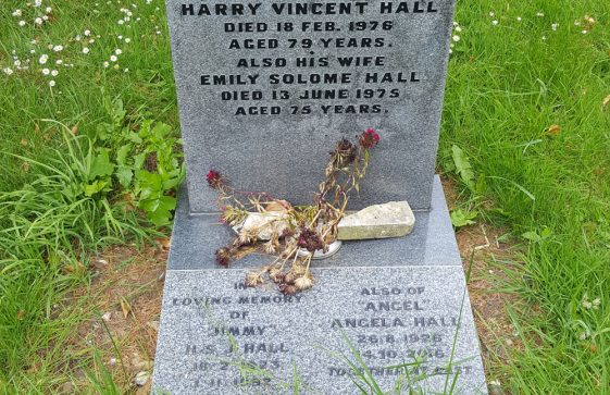 Gravestone of HALL Harry Vincent 1978; HALL Emily Salome 1975; HALL H S J 1992; HALL Angela 2016
