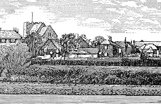 Engraving of St Margaret's Church from The Droveway across Chapel Lane. c1890