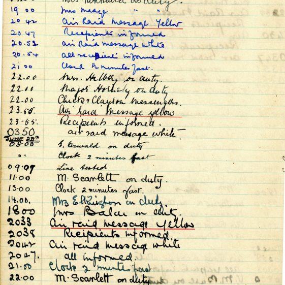 St Margaret's ARP (Air Raid Precautions) Log. Volume 1. 1 September 1939 - 24 July 1940. Pages 111-120