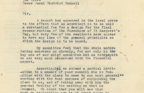 A series of letters about the plans for the redevelopment of St Margaret's Bay. 1954 - 1955