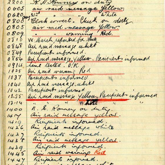 St Margaret's ARP (Air Raid Precautions) Log. Volume 2. 24 July 1940 - 2 November 1940. Pages 36-46