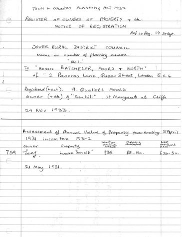 Sunhill, Bay Hill, various information. 1931 - 1933
