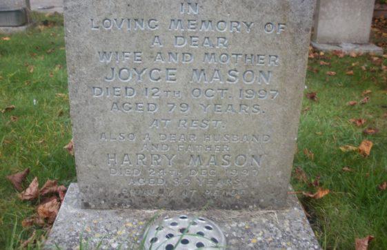 Gravestone of MASON Harry 1997; MASON Joyce 1997