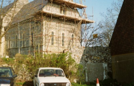 Repairs to east end of St Margaret's church and churchyard wall. c1996