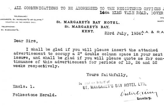 Advertisement for St Margaret's Bay Hotel, St Margaret's Bay. 1936