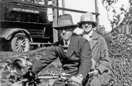 Eric and Maude Finnis on their motor bike
