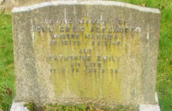 Gravestone of ALEXANDER John Craig 1949; ALEXANDER Katherine Emily 1950