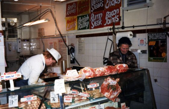 A series of photographs showing the village Butchers shop under the Dewhurst name and then under Derek Mitchell's ownership.1985