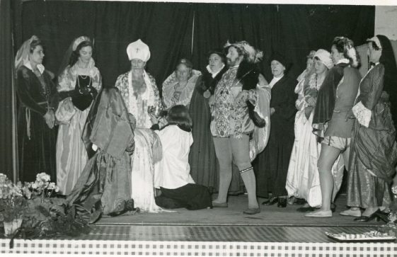 Scene from St Margaret's Players production 'The Christening of Elizabeth I'. 1953