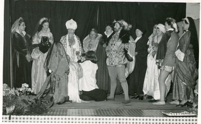 A scene from St. Margaret's Players production 'The Christening of Elizabeth I' 1953