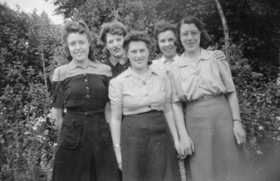 Group of five women, including Milly Collard. Date unknown.