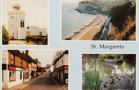 Multiple view postcard of St Margaret's at Cliffe and the Bay.  c1990