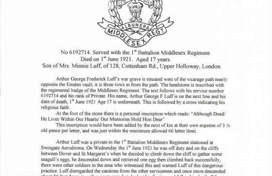 Private Arthur Luff, 1st Battalion Middlesex Regiment. died 1921