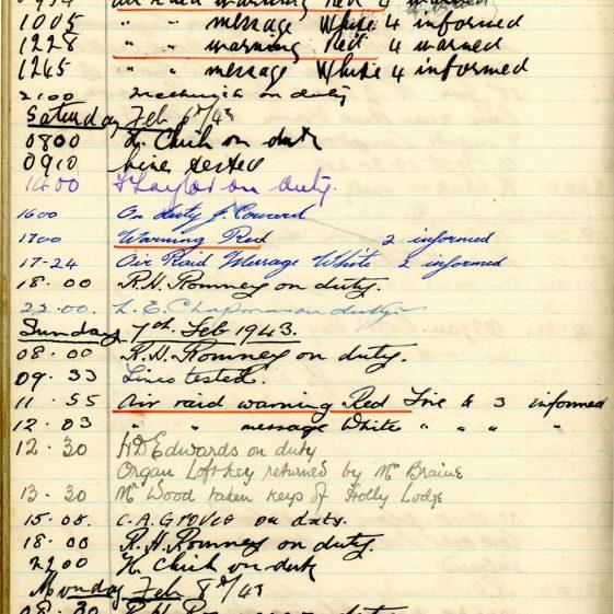 St Margaret's ARP (Air Raid Precautions) Log. Volume 6. 17 July 1942 - 16 February 1943. Pages 124-132
