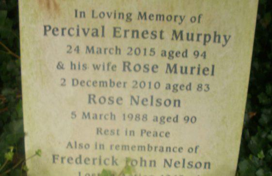 Gravestone of MURPHY Percival Ernest 2015; MURPHY Rose Muriel 2010; NELSON Rose 1988; NELSON Frederick John 1943