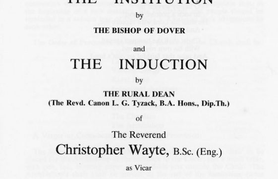 Order of Service for Induction of Rev Christopher Wayte. 20th December 1985