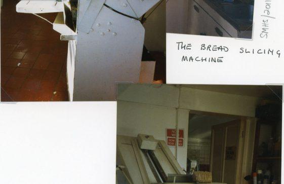 Bread slicing machine at Watson's Baker's Shop, Kingsdown Road. 1995
