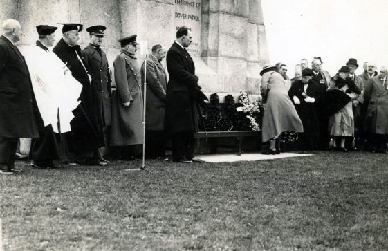 Colonel Stordey, Rev Cartman and others laying a wreath at the Dover Patrol Memorial. 1939