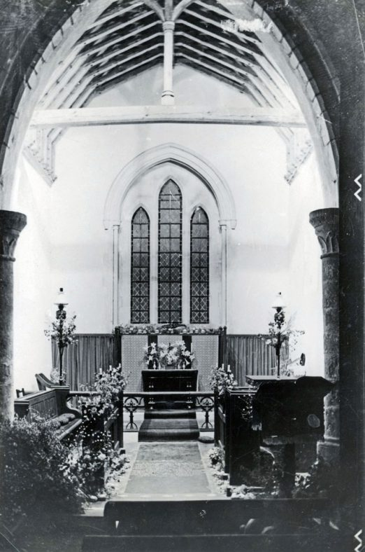 Interior of St Peter's Church Westcliffe. Harvest Festival 1949