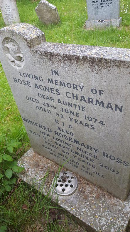 Gravestone of CHARMAN Rose Agnes 1974; ROSS Winifred Rosemary 2007   Dawn Sedgwick