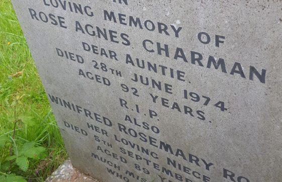 Gravestone of CHARMAN Rose Agnes 1974; ROSS Winifred Rosemary 2007