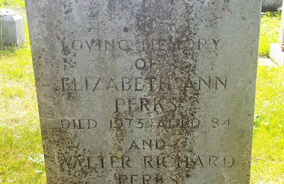 Gravestone of PERKS Elizabeth Ann 1973; PERKS Walter Richard 1982