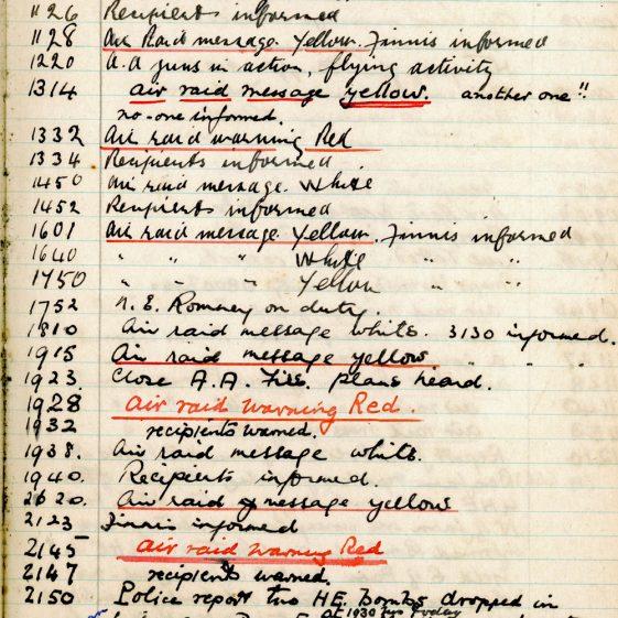 St Margaret's ARP (Air Raid Precautions) Log. Volume 2. 24 July 1940 - 2 November 1940. Pages 90-100