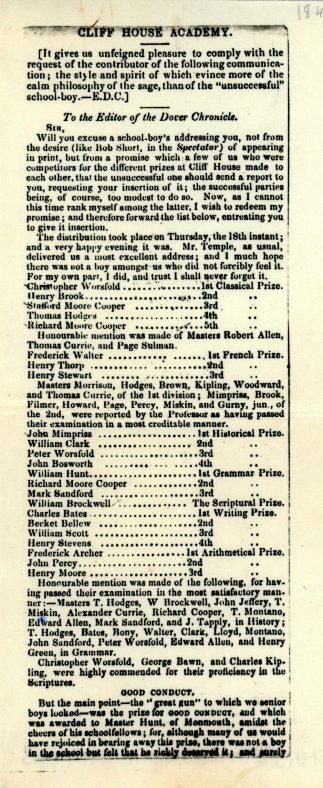 Awards to boys at Cliffe House School for their academic achievements.  c1847